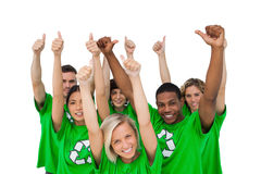 Cheerful group of environmental giving thumbs up Stock Images