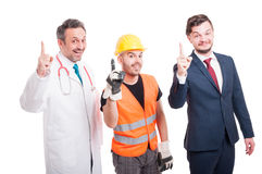 Cheerful group of medic, lawyer and builder Royalty Free Stock Photo