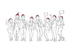 Cheerful Group Of People Wearing Santa Hats Celebrating Merry Christmas Winter Holidays Human Sketches. Vector Illustration Royalty Free Stock Photos