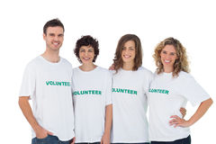 Cheerful group of volunteers. On white background stock image