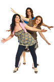 Cheerful group of women with hands up Stock Photos