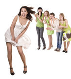 Cheerful group of young people. Isolated. Stock Images