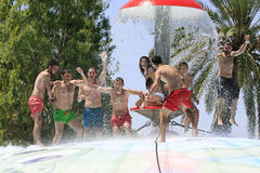 Cheerful group of young people in the  water Stock Image