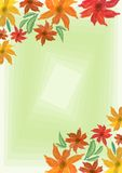 Cheerful grunge spring background with colorful flowers on light green blend area, place for own text, message. Useful for invitat. Ion, leaflet, poster, bill Stock Photo
