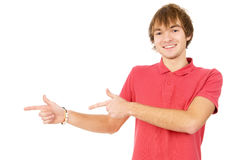 Cheerful guy a gesture of hands indicates on your ad Stock Photography