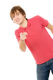 Cheerful guy Peeps and points to you Stock Image