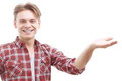 Cheerful guy rising his hand Royalty Free Stock Photo
