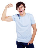 Cheerful guy showing his strength Royalty Free Stock Photo