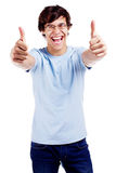 Cheerful guy showing thumbs up Stock Image