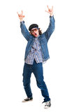 Cheerful guy in sunglasses stock photography