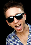 Cheerful guy vith glasses Royalty Free Stock Photo