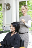 Cheerful hairstylist looking at hair of beautiful woman in beauty salon Stock Photo