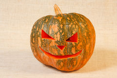 Cheerful halloween pumpkin. The big cheerful halloween pumpkin on a canvas background Stock Images