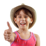 Cheerful happy charming girl in a hat Royalty Free Stock Images