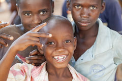 Cheerful and happy children from northern Mozambique. Nampula, Mozambique - October 11, 2014: Cheerful and happy children from northern Mozambique Royalty Free Stock Images