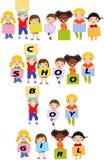 Cheerful Happy Cute Children Holding Banner Stock Photo