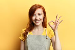 Cheerful happy girl showing ok sign as great sales concept royalty free stock images