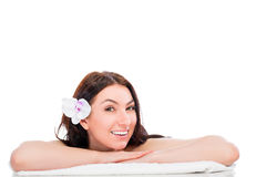 Cheerful and happy girl in spa Royalty Free Stock Photos