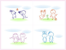 Cheerful and happy kids. Vector illustration Stock Photos