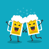 Cheerful and happy mugs with beer Royalty Free Stock Photo