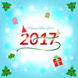 Cheerful Happy new year 2017 banner background. With christmas elements Stock Photo