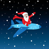 Cheerful and happy Santa. Claus flying in red Christmas costume red color is flying on an airplane and smiling pointing isolate  illustration Royalty Free Stock Image