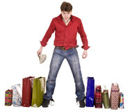Cheerful happy shopping man. Isolated. Stock Photo