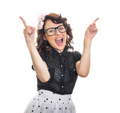 Cheerful happy young woman gesturing Royalty Free Stock Photos