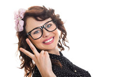 Cheerful happy young woman royalty free stock images