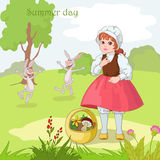 Cheerful hare. Little girl on the meadow with cheerful hare stock illustration