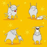 Cheerful hares. Cheerful white hares. Seamless wallpaper. Vector Royalty Free Stock Photo