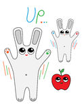 Cheerful hares jump up. Illustration of a cheerful hares jump up Royalty Free Stock Photography