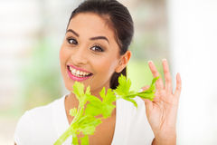 Healthy woman celery Royalty Free Stock Photography