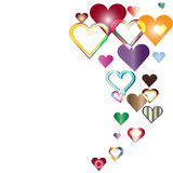 Cheerful hearts ascending. Multicolor hearts ascending like balloons Stock Photography