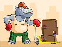 Hippopotamus - loader. The cheerful hippopotamus in a uniform Royalty Free Stock Photo