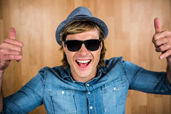 Cheerful hipster wearing sunglasses Stock Image