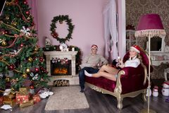 Cheerful holiday of Christmas. Happy New Year. Congratulations and gifts. Christmas,. Winter Stock Photo