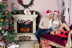 Cheerful holiday of Christmas. Happy New Year. Congratulations and gifts. Christmas, Royalty Free Stock Image