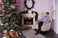 Cheerful holiday of Christmas. Happy New Year. Congratulations and gifts. Christmas,. Winter Royalty Free Stock Photo