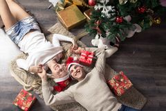 Cheerful holiday of Christmas. Happy New Year. Congratulations and gifts. Christmas,. Winter Stock Photography