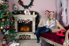 Cheerful holiday of Christmas. Happy New Year. Congratulations and gifts. Christmas,. Winter Royalty Free Stock Image