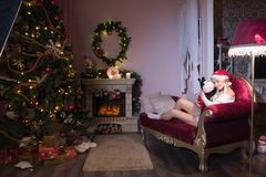 Cheerful holiday of Christmas. Happy New Year. Congratulations and gifts. Christmas,. Winter Royalty Free Stock Images