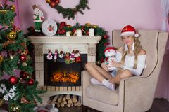 Cheerful holiday of Christmas. Happy New Year. Congratulations and gifts. Christmas,. Winter Royalty Free Stock Photos