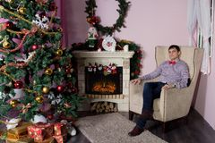 Cheerful holiday of Christmas. Happy New Year. Congratulations and gifts. Christmas,. Winter Stock Images