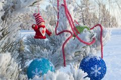 Cheerful holiday of Christmas. Happy New Year. Congratulations and gifts. Christmas, winter, snow Stock Photo