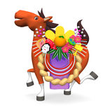 Cheerful Horse That Is Carrying Japanese New-year's Ornament Front View Royalty Free Stock Image