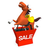 Cheerful Horse Jumped Out Of Sale Shopping Bag.  Royalty Free Stock Photo