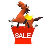 Cheerful Horse Jumped Out Of Sale Shopping Bag Front View.  Royalty Free Stock Photos
