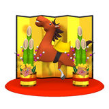 Cheerful Horse And Kadomatsu Royalty Free Stock Photos