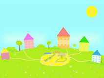Landscape with houses. The cheerful houses among the trees, bushes and green grass Stock Images